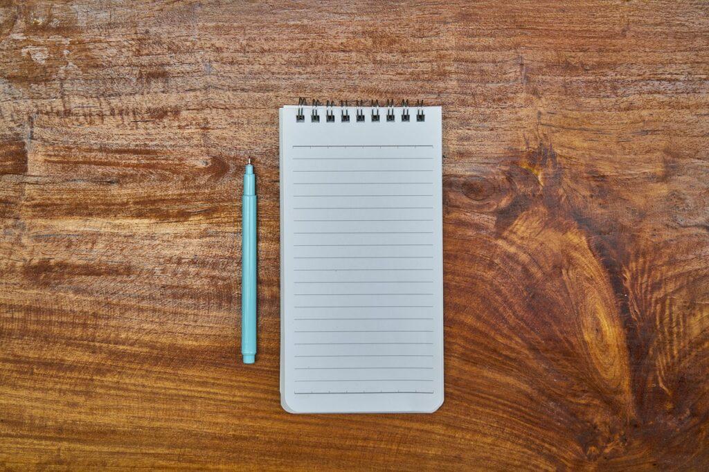 notebook, pen, blue